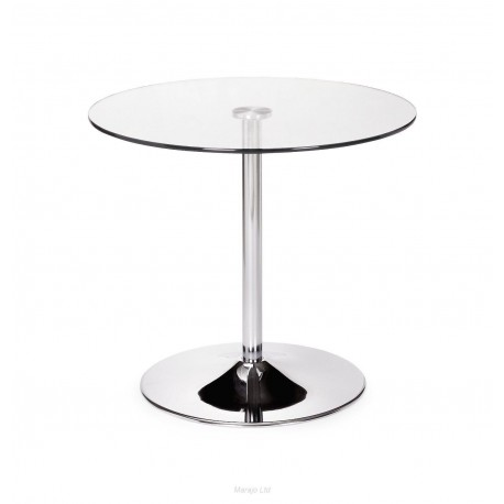 Kudos Round chrome & Glass Pedastal Table
