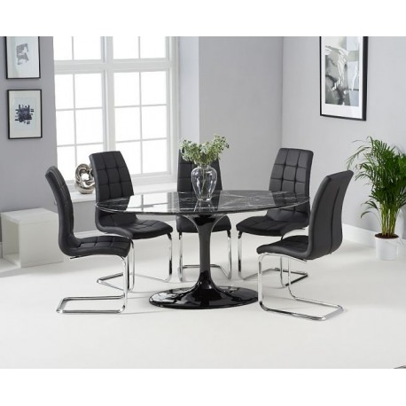 Brittney Oval Black Dining Table