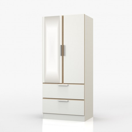 Waterfall Double Combi Wardrobe With Mirror - OL053